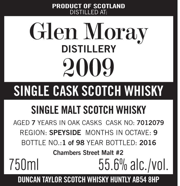 Duncan Taylor Octave Series Glen Moray 2009 (7 Years-Old) Single  Malt Scotch Whisky Chambers  St. Malt #2