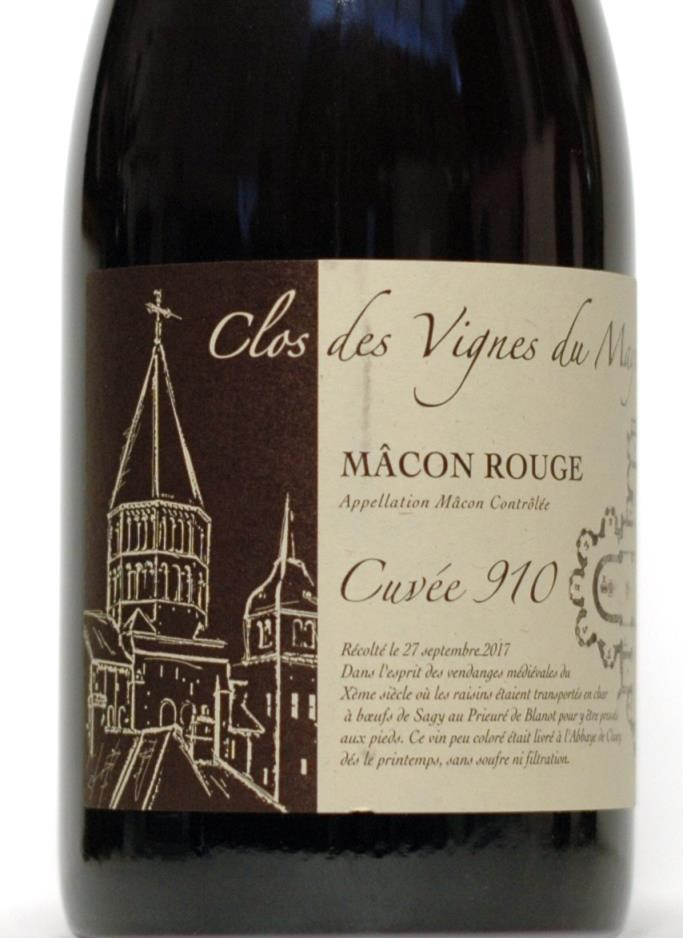 Vignes du Maynes (Julien Guillot) 2017 Mâcon Rouge Cuvée 910 (PRE Arrives 1/18)